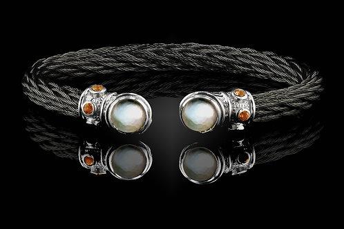 Capri Black Nouveau Braid Bracelet with Crystal & Mother of Pearl Doublets