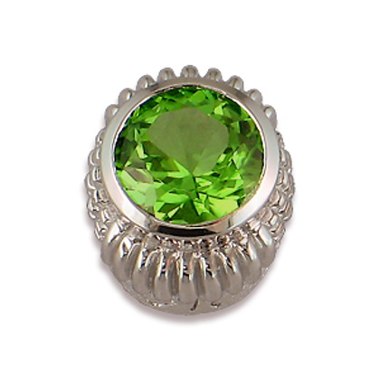 Oval Gemstones Sterling Silver Bezel with Peridot