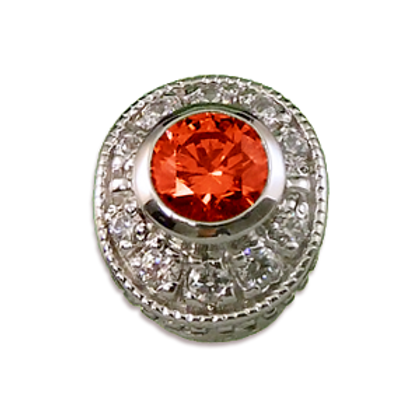 Oval Halo Collection Sterling Silver Bezel with Lab  Orange Sapphire & CZ