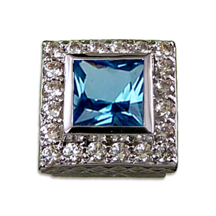 Square Halo Collection Sterling Silver Bezel with Swiss Blue Topaz & CZ