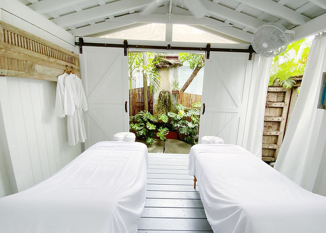inside our outdoor massage room