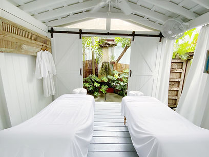 inside of our outdoor massage room