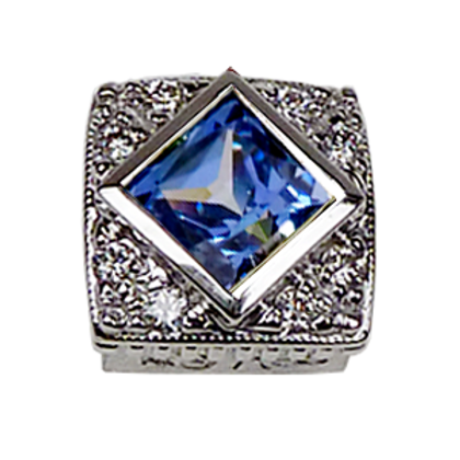 Square Halo Collection Sterling Silver Bezel with CZ Fancy Blue & CZ