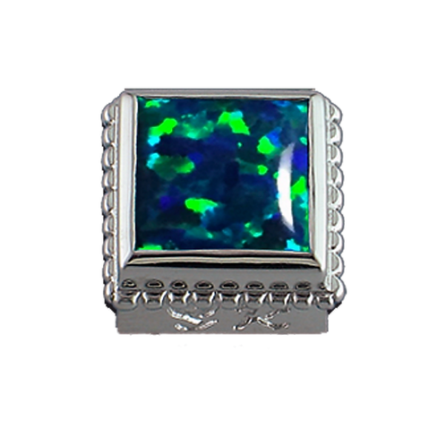 Square Opaque & CZ Sterling Silver Bezel with Simulated Opal Green
