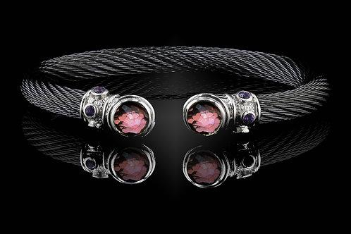 Capri Black Live Wire Bracelet with Rhodalite Garnet & Crystal Doublets