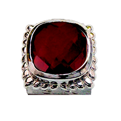 Square Gemstones Sterling Silver Bezel with  Quartz Doublet Rubylite