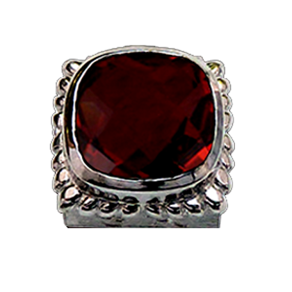 Square Gemstones Sterling Silver Bezel with  Quartz Doublet Red Wine