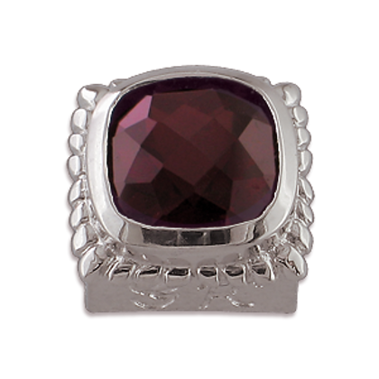 Square Gemstones Sterling Silver Bezel with Pyrope Garnet