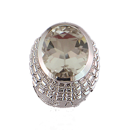 Oval Gemstones Sterling Silver Bezel with White Topaz