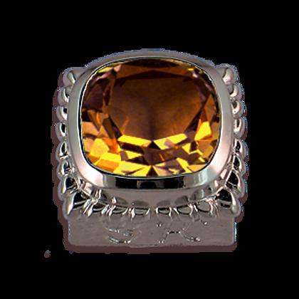 Square Gemstones Sterling Silver Bezel with Citrine