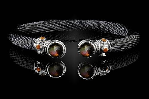 Capri Black Live Wire Bracelet with Smokey Quartz & Black MOP Doublets
