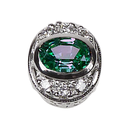 Oval Halo Collection Sterling Silver Bezel with CZ Mint & CZ
