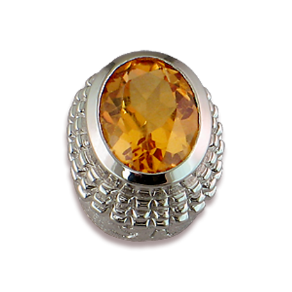 Oval Gemstones Sterling Silver Bezel with Citrine