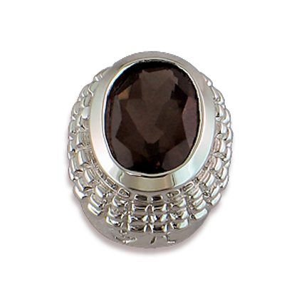 Oval Gemstones Sterling Silver Bezel with Smokey Topaz