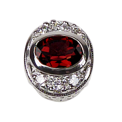 Oval Halo Collection Sterling Silver Bezel with Pyrope Garnet & CZ