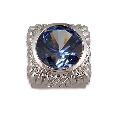 Square Opaque & CZ Sterling Silver Bezel with CZ Fancy Blue