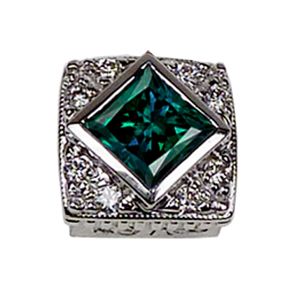 Square Halo Collection Sterling Silver Bezel with Lab  Alexandrite & CZ