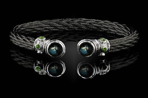 Capri Black Nouveau Braid Bracelet with Green Amethyst & Hematite Doublets
