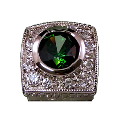 Square Halo Collection Sterling Silver Bezel with CZ Green & CZ