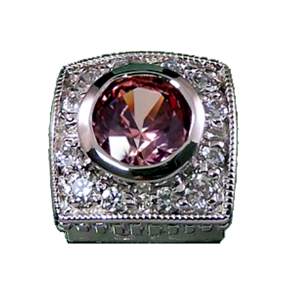 Square Halo Collection Sterling Silver Bezel with CZ Fancy Pink & CZ
