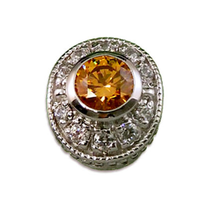 Oval Halo Collection Sterling Silver Bezel with Citrine  & CZ