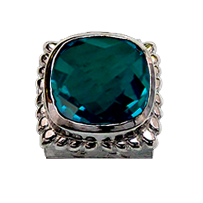 Square Gemstones Sterling Silver Bezel with  Quartz Doublet Pariba