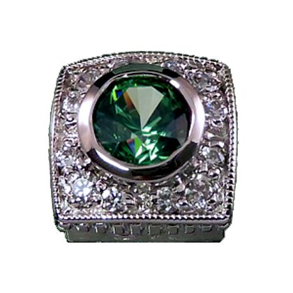 Square Halo Collection Sterling Silver Bezel with CZ Fancy Green & CZ