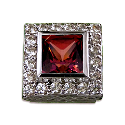 Square Halo Collection Sterling Silver Bezel with CZ Red & CZ