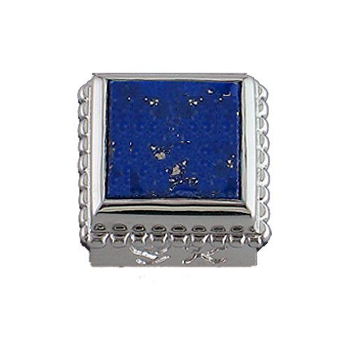 Square Opaque & CZ Sterling Silver Bezel with Natural Lapis