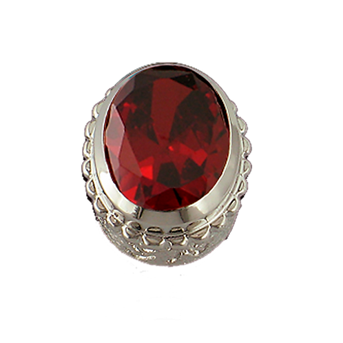Oval Opaque & CZ Sterling Silver Bezel with CZ Red