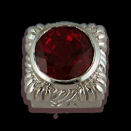 Square Gemstones Sterling Silver Bezel with Pyrope Garnet
