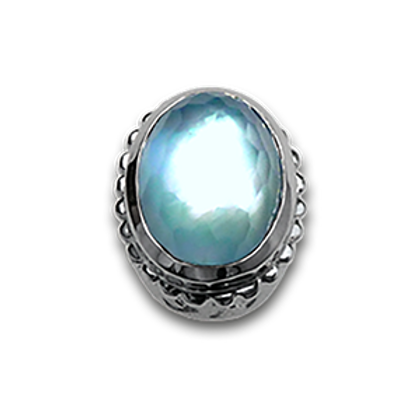 Oval Natural Doublets Sterling Silver Bezel with Blue Topaz & MOP