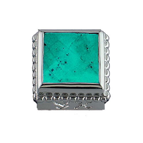 Square Opaque & CZ Sterling Silver Bezel with Chinese Turquoise