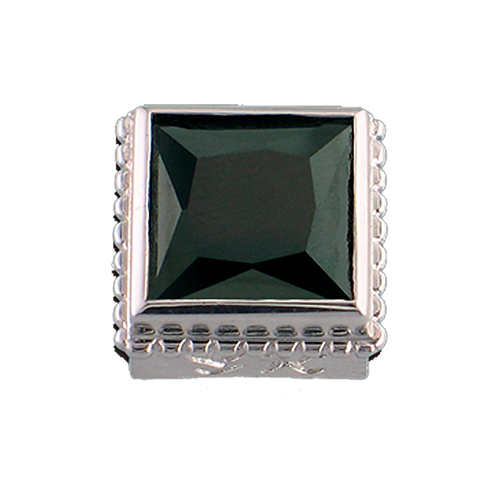 Square Opaque & CZ Sterling Silver Bezel with CZ Black