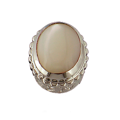 Oval Opaque & CZ Sterling Silver Bezel with Mother of Pearl White