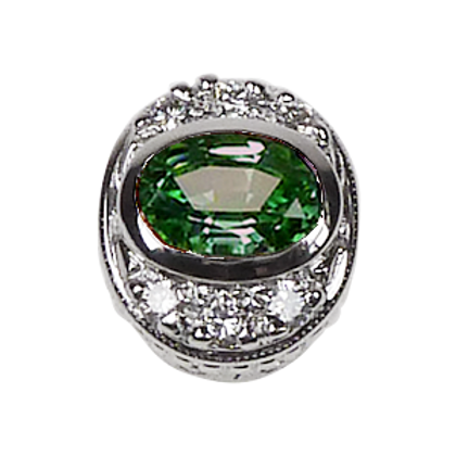 Oval Halo Collection Sterling Silver Bezel with Cz Green & Cz
