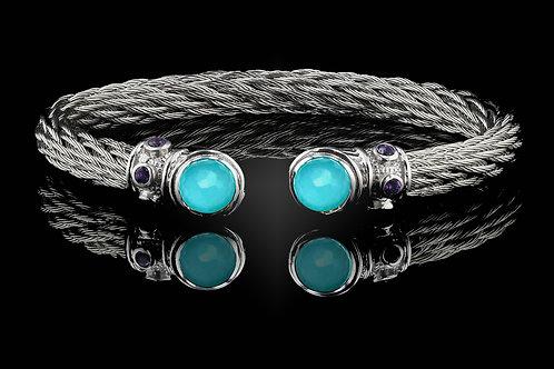 Capri White Nouveau Braid Bracelet with Recon Turqouise & Crystal Doub