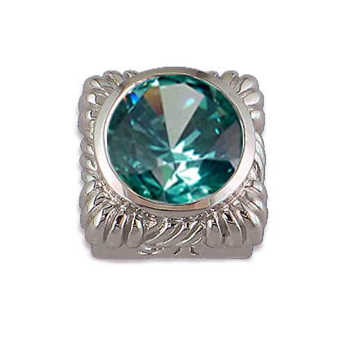 Square Opaque & CZ Sterling Silver Bezel with CZ Mint