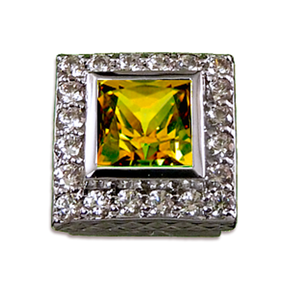 Square Halo Collection Sterling Silver Bezel with CZ Amber & CZ