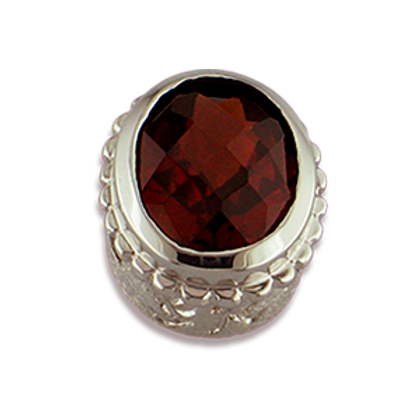 Oval Gemstones Sterling Silver Bezel with Pyrope Garnet