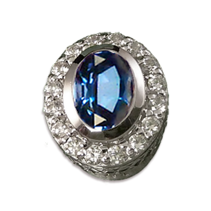 Oval Halo Collection Sterling Silver Bezel with CZ Arctic Blue & CZ