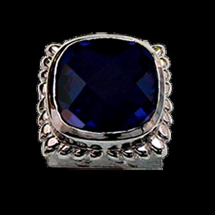 Square Gemstones Sterling Silver Bezel with  Quartz Doublet Iolite