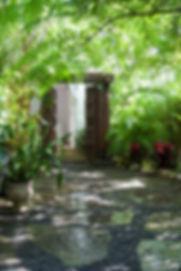 Garden with wood doors