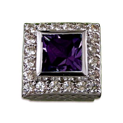 Square Halo Collection Sterling Silver Bezel with Amethyst & CZ