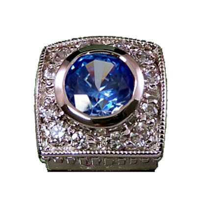 Square Halo Collection Sterling Silver Bezel with CZ Arctic Blue & CZ