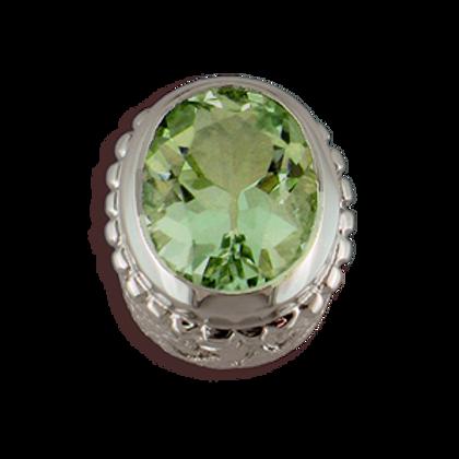 Oval Gemstones Sterling Silver Bezel with Green Amethyst