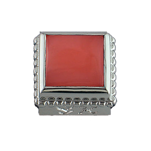 Square Opaque & CZ Sterling Silver Bezel with Salmon Coral