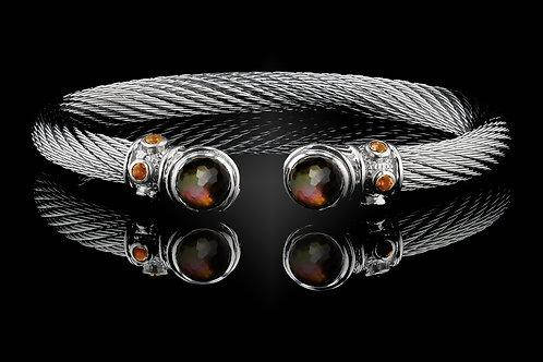 Capri White Live Wire Bracelet with Smokey Quartz & Black MOP  Doublets