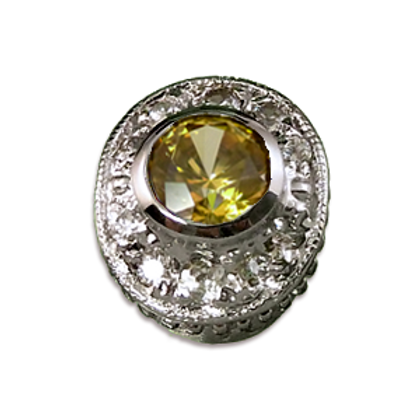 Oval Halo Collection Sterling Silver Bezel with CZ Amber & CZ
