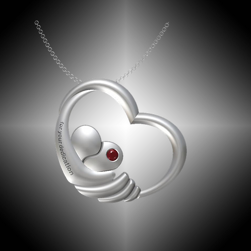 GK Cares Heart Dedication Pendant Sterling Silver